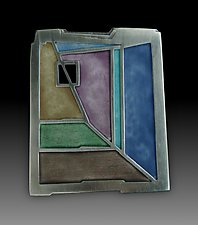 Quadrati Pin by Carly Wright (Enameled Brooch)