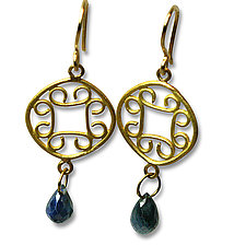 22k Gold & Sapphire Earrings by Nancy Troske (Gold & Stone Earrings)