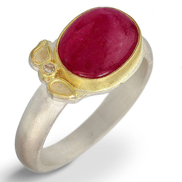 Ruby Cabochon & Diamond Leaf Ring