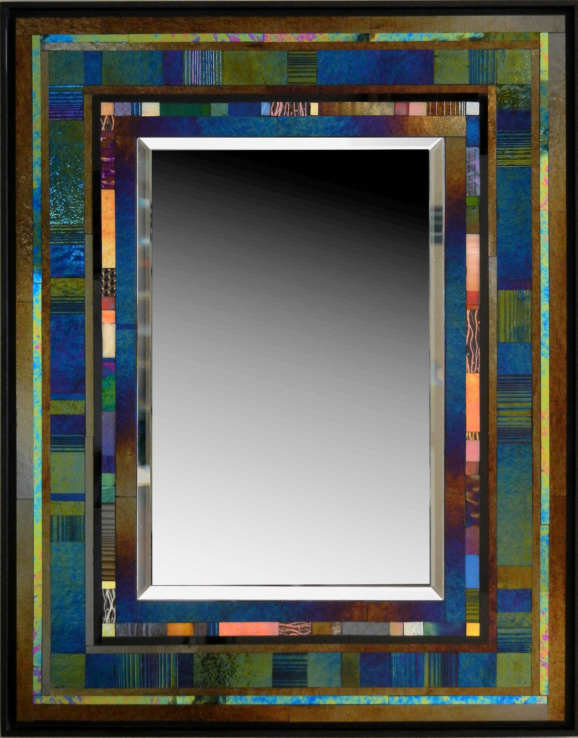 Jazz ii by thomas meyers art glass mirror artful home for Tall glass mirror