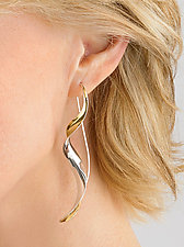 Ribbon Earrings by Nancy Linkin (Gold & Silver Earrings)