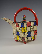 Primary Puzzle Teapot by Vaughan Nelson (Ceramic Teapot)