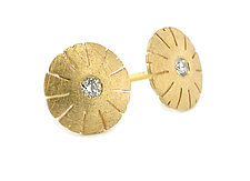 Small Flower Earring in 18K and Diamond by Catherine Iskiw (Gold & Stone Earrings)