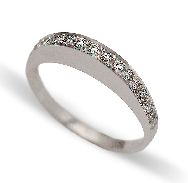Slim Curve Pave Ring