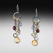 Mandarin Long Jambalaya Earrings by Suzanne Q Evon (Silver & Stone Earrings)