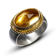 Rose Cut Citrine Ring by Nancy Troske (Silver & Stone Ring)