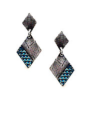 Gridlines Double Diamond Earrings by Beth Taylor (Silver Earrings)