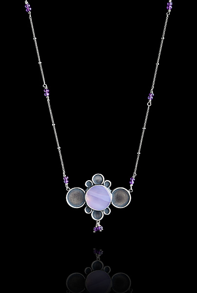 Purple Chalcedony Necklace with Amethyst
