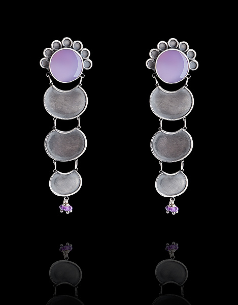 Purple Chalcedony Earrings with Turquoise