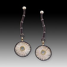 Bamboo & Sand Dollar Earrings by Susan Mahlstedt (Gold, Silver & Pearl Earrings)