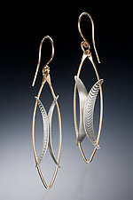 Floating Wing by Carolyn Zakarija (Gold & Silver Earrings)
