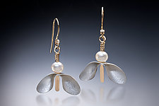 Pearl Piper by Carolyn Zakarija (Gold, Silver & Pearl Earrings)