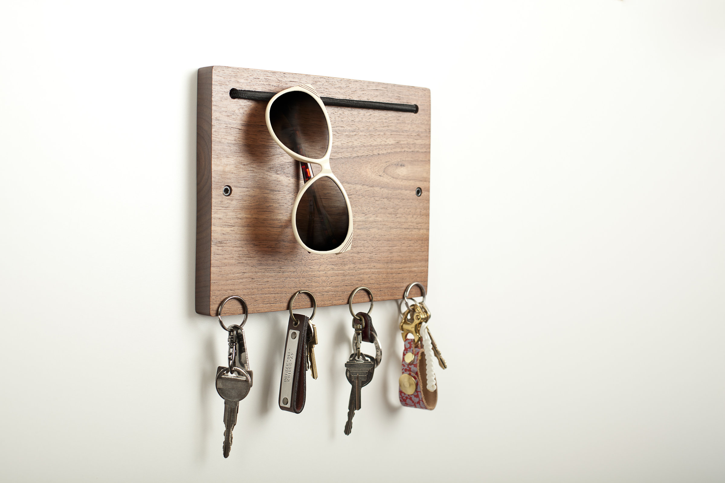 Blokkey eyewear and key holder in walnut by brad reed nelson wood wall organizer artful home - Key racks for wall ...