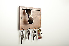 Blokkey Eyewear and Key Holder in Walnut by Brad Reed Nelson (Wood Wall Organizer)