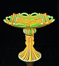 South Beach Aztec Compote by Michael Egan (Art Glass Sculpture)