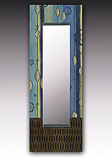 Leaf Stripes Blue Wall MIrror by Janna Ugone and Justin Thomas (Wood Mirror)