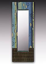Leaf Stripes Blue Wall MIrror by Janna Ugone and Justin Thomas (Wood Mirror)