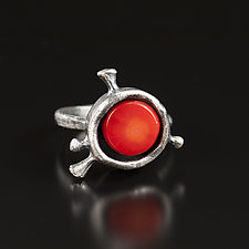 Rosehip Mood Ring by Aleksandra Vali (Silver & Coral Ring)