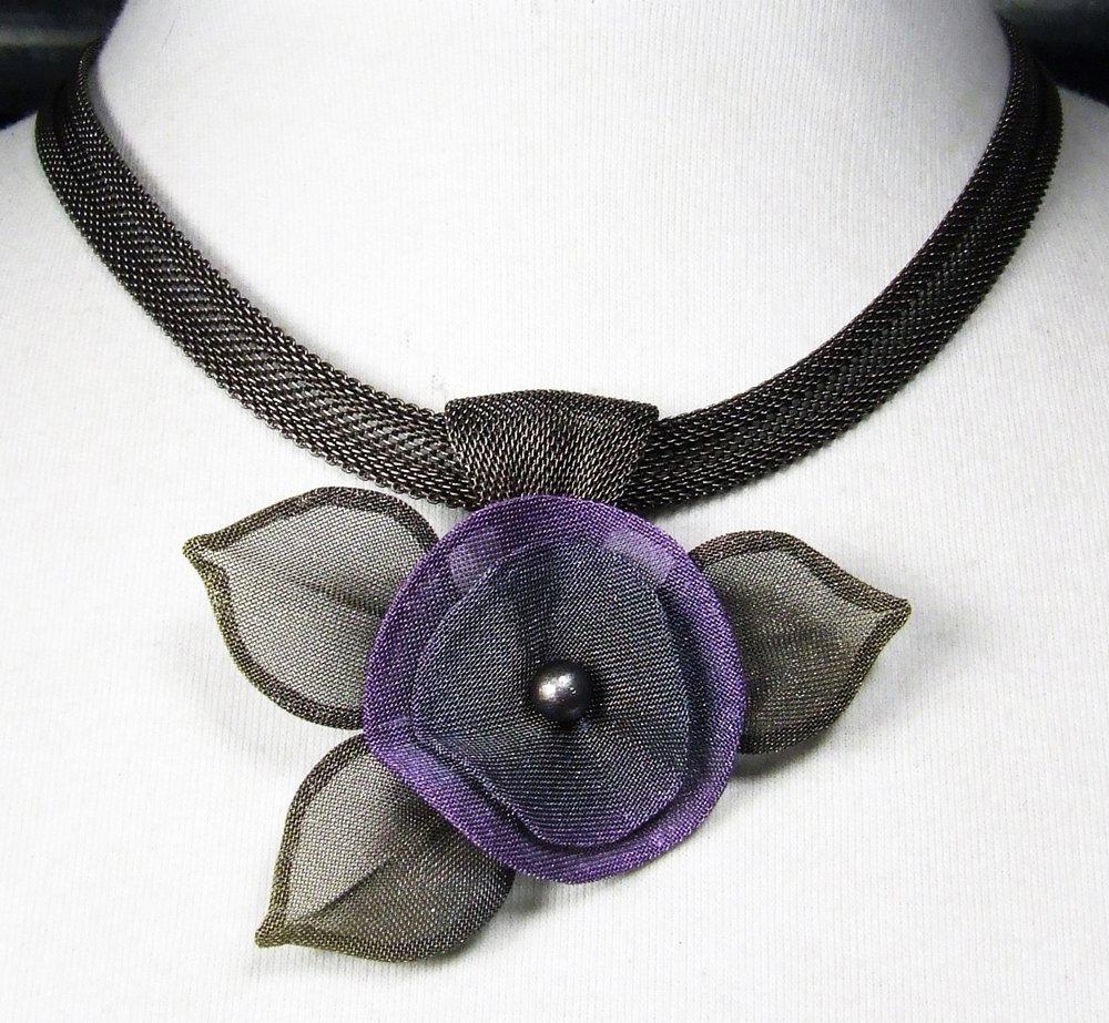 Pansy Flower With Leaves Necklace By Sarah Cavender Metal Necklace