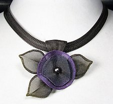 Pansy Flower with Leaves Necklace by Sarah Cavender (Metal Necklace)