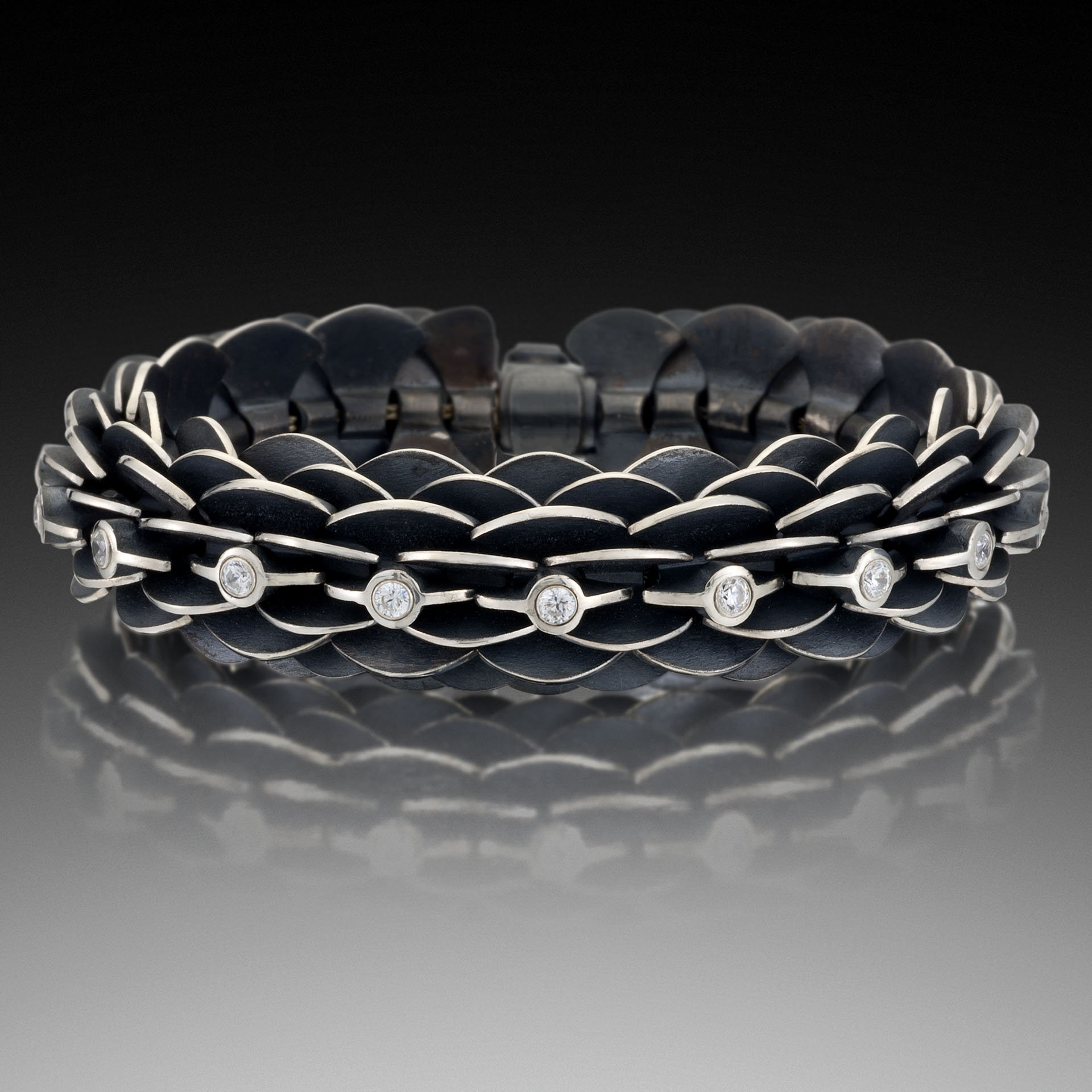 Pangolin Bracelet with Stones by Samantha Freeman (Silver & Stone Bracelet)
