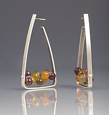 Triangle Hoop Earrings by Ayala Naphtali (Silver & Stone Earrings)