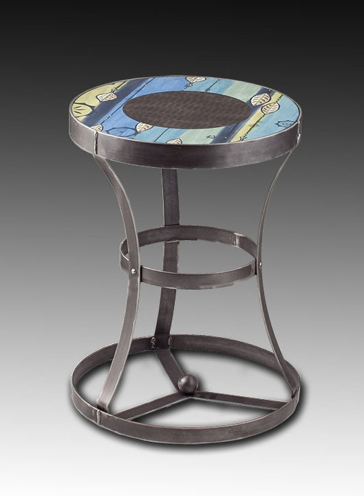Leaf Stripe Blue Accent Table by Janna Ugone and Justin Thomas (Metal Side Table)