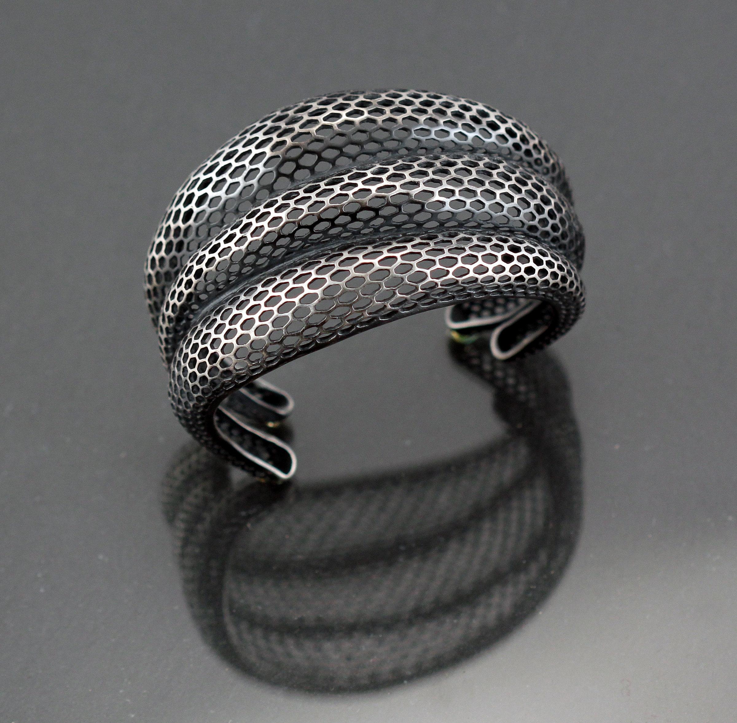 Triple Snake Skin Cuff by Rachel Atherley (Silver Bracelet)