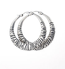 Water Buffalo Hoops by Rachel Atherley (Silver Earrings)