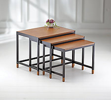 Mystic Nesting Tables with Wood Tops by Ken Reinhard (Wood Nesting Tables)