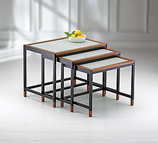 Mystic Nesting Tables with Glass Inserts by Ken Reinhard (Wood & Glass Nesting Tables)