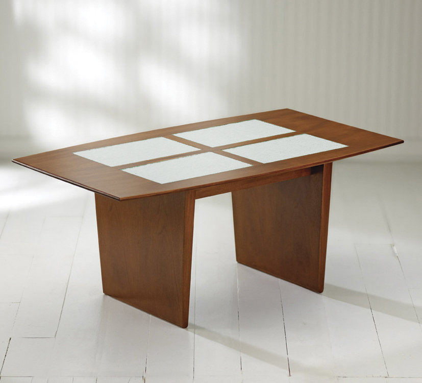 Mystic coffee table with glass inserts by ken reinhard for Wood coffee table with glass insert