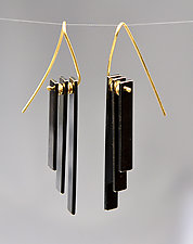 Radiator Earring by Hilary Hachey (Gold & Silver Earrings)