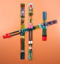 Color Totem Grouping #1 by Nina  Cambron (Art Glass Wall Sculpture)