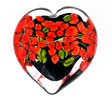 Red Roses Garden Heart on Black by Shawn Messenger (Art Glass Paperweight)