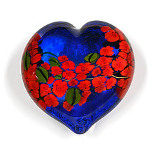 Red Roses Garden Heart on Blue by Shawn Messenger (Art Glass Paperweight)
