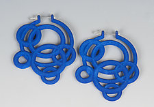 Loop Hoop Earrings in Blue by Maria  Eife (Nylon Earrings)