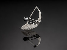 The Balance Sail Pin with Hematite by Chi Cheng Lee (Silver & Stone Brooch)