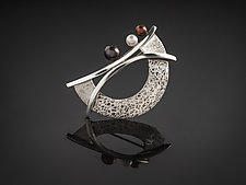 The Balance Moon Pin Pendant by Chi Cheng Lee (Silver & Pearl Brooch)