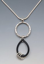 Large Rings Loop Necklace by Lonna Keller (Silver & Rubber Necklace)