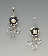 Small Petals Earrings by Lonna Keller (Silver & Pearl Earrings)