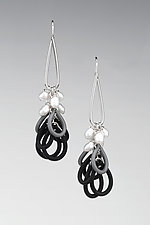 Crisp Morning Earrings by Lonna Keller (Silver, Pearl, & Rubber Earrings)