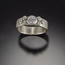Large Flourish Diamond Ring by Ananda Khalsa (Gold & Stone Wedding Band)
