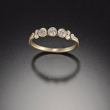 Diamond Dot Ring with Diamond Trios by Ananda Khalsa (Gold & Stone Wedding Band)