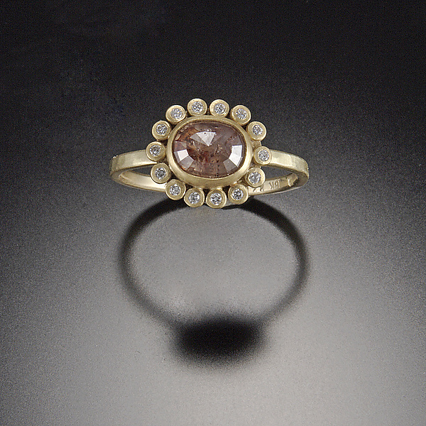Reddish Diamond Ring with Diamond Halo