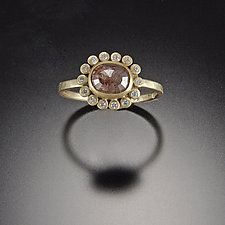 Reddish Diamond Ring with Diamond Halo by Ananda Khalsa (Gold & Stone Wedding Band)