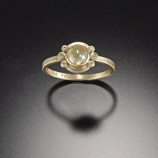 Rose Cut Yellow Diamond Ring with Diamond Accents