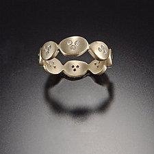 Small Ovals Band with Diamonds by Ananda Khalsa (Gold & Stone Wedding Band)
