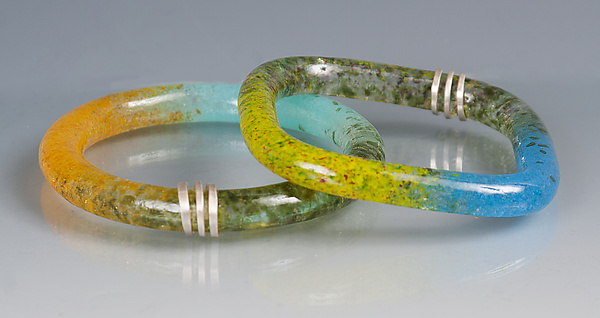 Kiln Cast Bangle with Sterling Silver