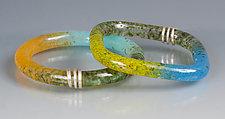 Kiln Cast Bangle with Sterling Silver by Carol Martin (Art Glass Bracelet)